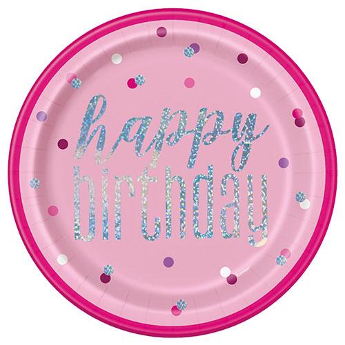 Rosada Glitz Holográficos De Cumpleaños Redondos Platos De Papel 22Cm - Paquete De 8