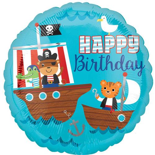 Barco Pirata Feliz Cumpleaños Redonda Papel De Aluminio Globo De Helio 43Cm / 17 In