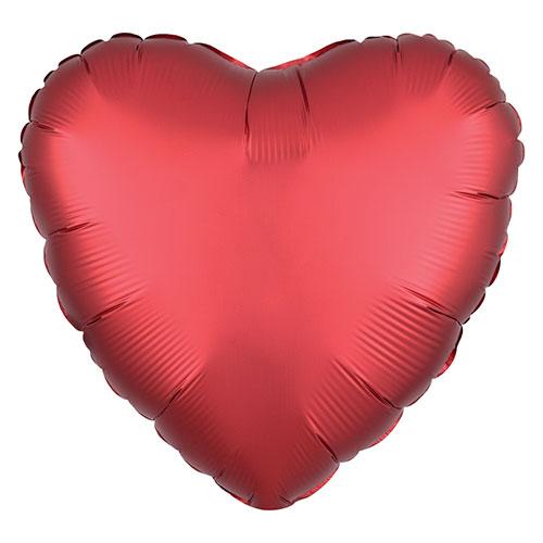 Sangría Roja Satén De Lujo Forma Corazón Papel De Aluminio Globo De Helio 43Cm / 17 In