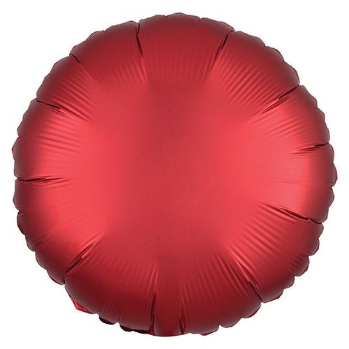 Sangría Roja Satén De Lujo Forma Redonda Papel De Aluminio Globo De Helio 43Cm / 17 In