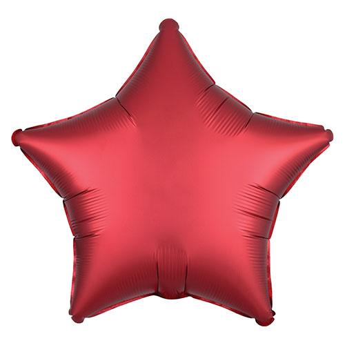 Sangría Roja Satén De Lujo Forma Estrella Papel De Aluminio Globo De Helio 48Cm / 19 In