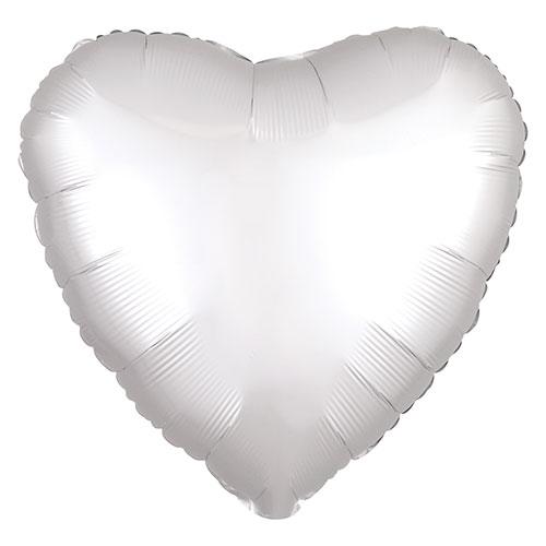 Blanco Brillante Satén De Lujo Forma Corazón Papel De Aluminio Globo De Helio 43Cm / 17 In