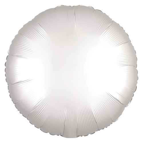 Blanco Brillante Satén De Lujo Forma Redonda Papel De Aluminio Globo De Helio 43Cm / 17 In