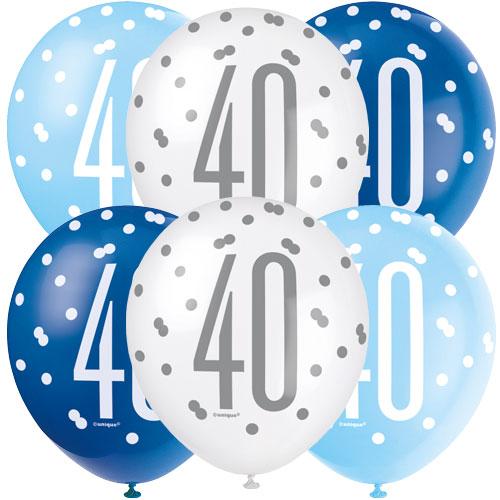 Azul Brillo De Los 40 Años Globos De Látex Biodegradables Surtidos  30 Cm / 12 In - Paquete De 6