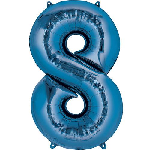 Numero Azul 8 Aire De Relleno Globo De La Hoja 40 Cm / 16 En