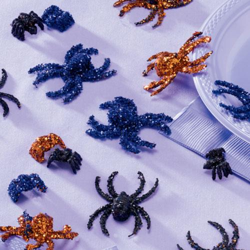 Criaturas Espeluznantes Arañas De Brillo Decoraciones De Mesa De Halloween - Paquete De 20