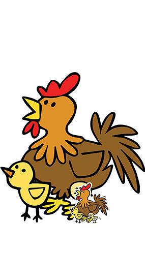 Lindo Pollo Con Pollitos Corral Animal Tamaño Natural Cartón Recortado 73Cm