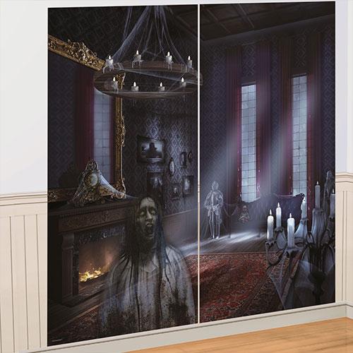 Decoraciones De Pared Complementarias Dark Manor Halloween Backdrop Scene Setter - Paquete De 2
