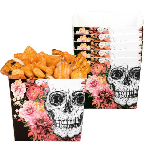 Dia De Las Flores Muertas Halloween Cuencos De Papel - Paquete De 6