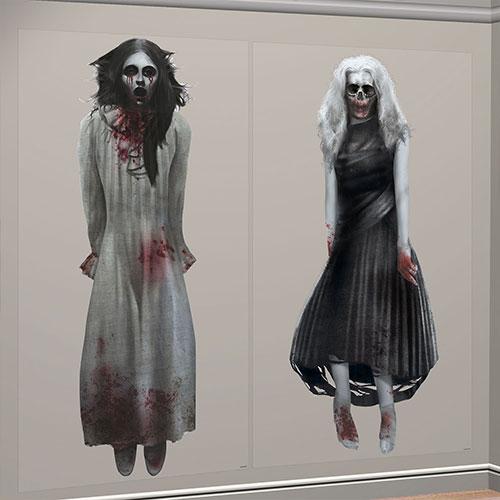 Decoraciones De Pared Adicionales Para Decorar La Escena De Fondo De Halloween De Las Niñas Fantasma, Paquete De 2