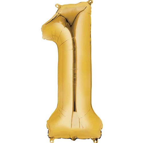 Número De Oro 1 Aire De Relleno Globo De La Hoja 40 Cm / 16 En