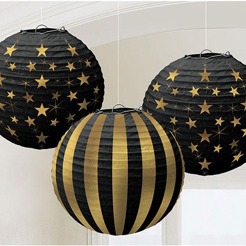 Estampación En Caliente Brillo Del Oro Linterna De Papel Decoraciones Colgantes 24Cm - Paquete De 3