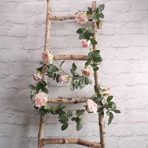Rosa claro Rosas Guirnalda De Flores De Seda Artificial 175Cm
