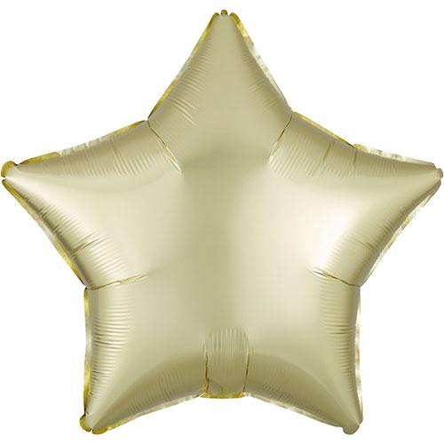 Amarillo Pastel Satén De Lujo Forma Estrella Papel De Aluminio Globo De Helio 48Cm / 19 In
