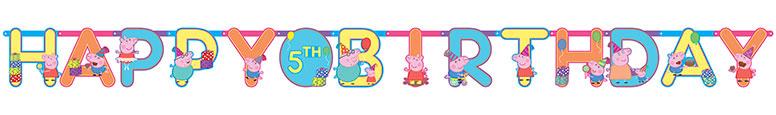 Peppa Pig Feliz Cumpleaños Jumbo Add-An-Age Letter Banner 3.2M