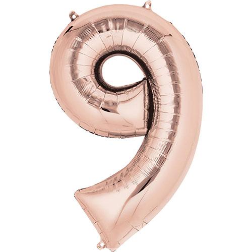 Número De Oro Rosa 9 Aire De Relleno Globo De La Hoja 40 Cm / 16 En