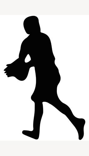 Jugador De Rugby Pelota Atrapar Silueta Pvc Póster De Tamaño Natural 182Cm