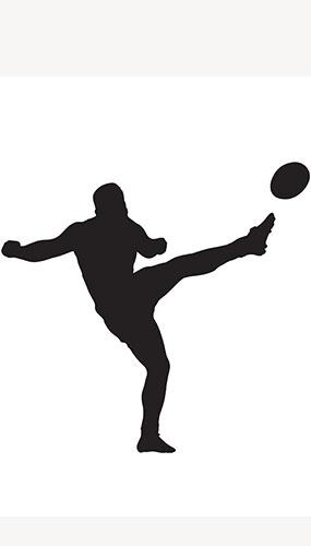 Jugador De Rugby Pelota Lateral Patada Silueta Pvc Tamaño Natural Póster 182Cm