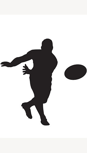 Jugador De Rugby Lanzamiento De Pelota Silueta Pvc Póster De Tamaño Natural 182Cm