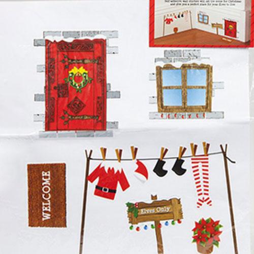Conjunto De Pegatinas De Casa Elfo Decoración De Pared De Navidad