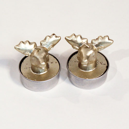 Oro 3D Ciervo Vela De Navidad Luces De Té - Paquete De 2