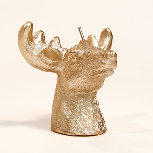Cabeza De Ciervo De Oro Decoración De Velas De Navidad 9Cm