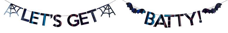 Vamos A Batty Negro Iridiscente Banner De Carta De Cartón De Halloween 2M