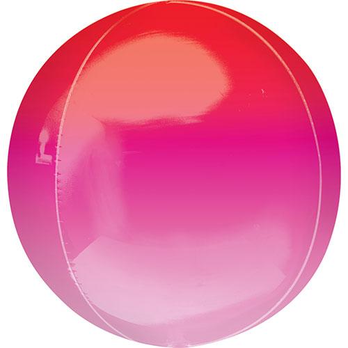 Ombre Rojo Y Orbz Rosa Papel De Aluminio Globo De Helio 38Cm / 15 En