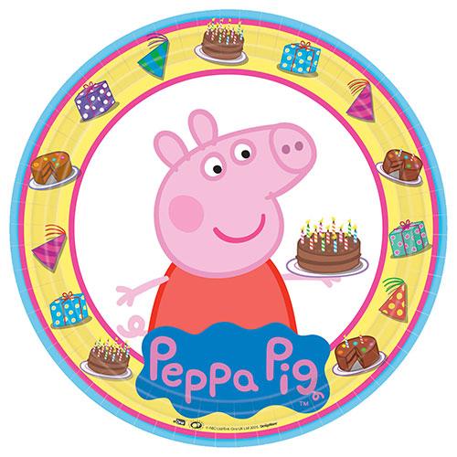 Peppa Pig Platos Redondos De Papel 23Cm  - Paquete De 8