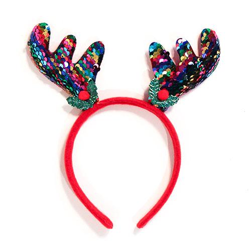Diadema De Astas De Lentejuelas Arcoíris Disfraces De Navidad