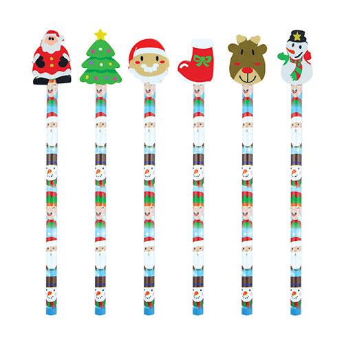 Surtido De La Navidad Lápiz Con Goma De Borrar 20Cm