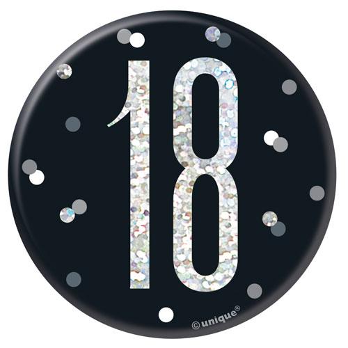 Insignia De Cumpleaños Holográfica De 18 Años De Brillo Negro