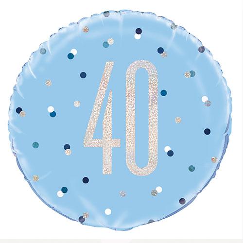 Azul Brillante Edad 40 Holográfica Globo De Helio De Aluminio Redondo 46Cm / 18 In