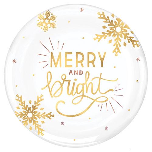 Feliz Navidad Y Plástico Brillante Estampado En Caliente Blanco Redondo Plato 35Cm