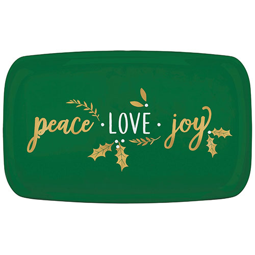 Navidad Paz Amor Alegría Plástico Estampado En Caliente Verde Rectangular Plato 46Cm