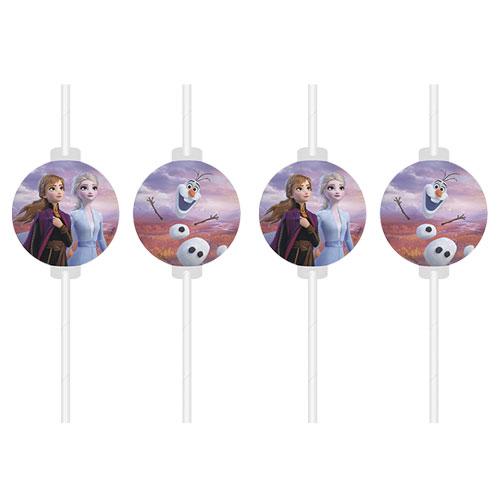 Disney Congelado 2 Papel Pajas De Beber  - Paquete De 4