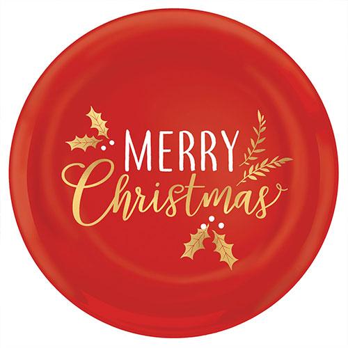 Feliz Navidad Plástico Estampado En Caliente Rojo Plato Redondo 35Cm