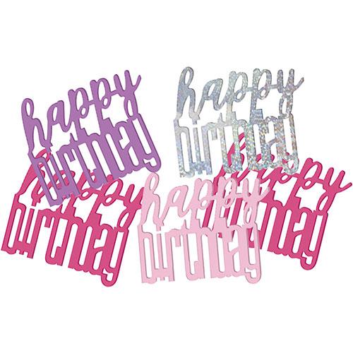 Rosado Glitz Feliz Cumpleaños Holográficas Tabla Del Confeti Surtidos 14 Gramos