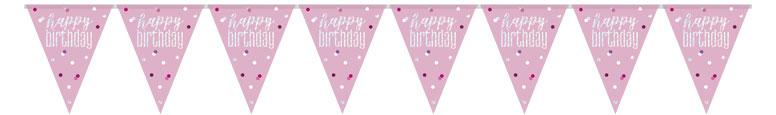 Brillo Rosado Feliz Cumpleaños Holográfico Banderín Banderín 274Cm