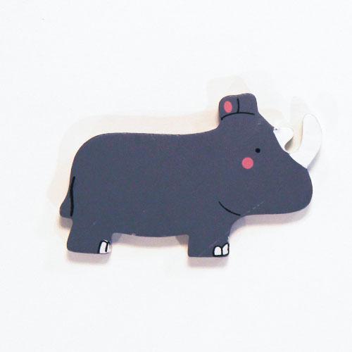 Rinoceronte Juguete Magnético De Madera