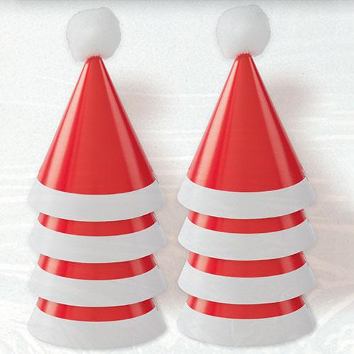 Sombreros Navideños Mini Pom Pom Santa Cone - Paquete De 8
