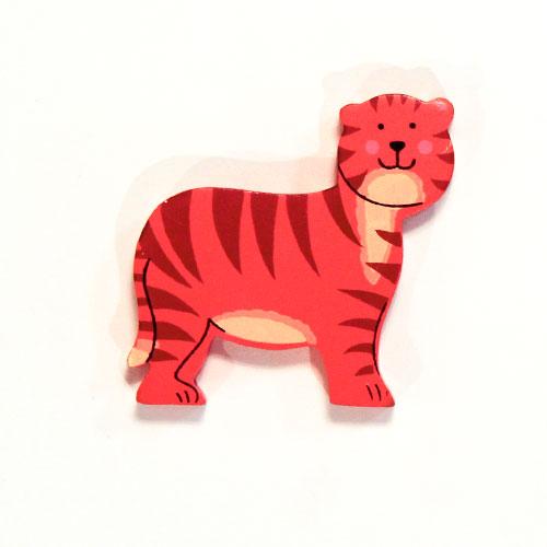 Tigre De Juguete Magnético De Madera
