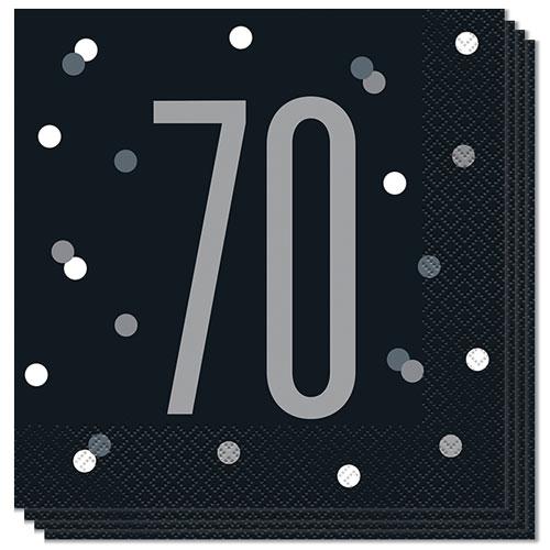 Negro Servilletas De Almuerzo 70 Años De Edad Brillo 33Cm 2Ply - Paquete De 16