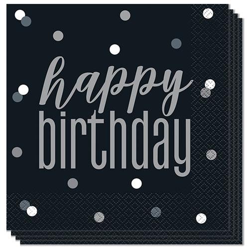 Negro Servilletas De Almuerzo Feliz Cumpleaños 33Cm 2Ply - Paquete De 16