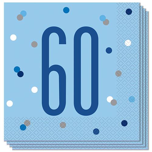 Servilletas De Almuerzo Blue Glitz Age 60 33Cm 2Ply - Paquete De 16