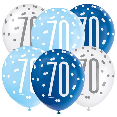 Blue Glitz Age 70 Globos De Látex Biodegradables Surtidos 30Cm / 12 In - Paquete De 6