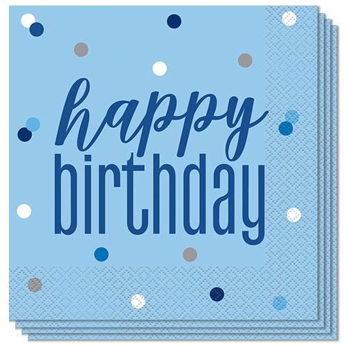 Servilletas De Almuerzo Feliz Cumpleaños Azul Brillo 33Cm 2Ply - Paquete De 16