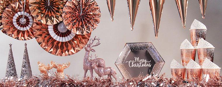 Suministros De Fiesta De Navidad De Oro Rosa