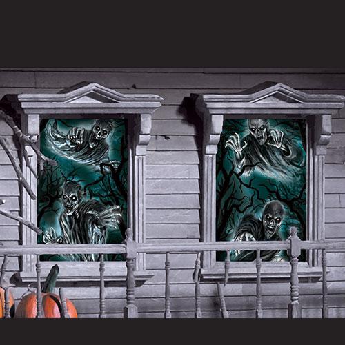 Decoraciones De Ventanas De Halloween Casa Embrujada 165Cm - Paquete De 2