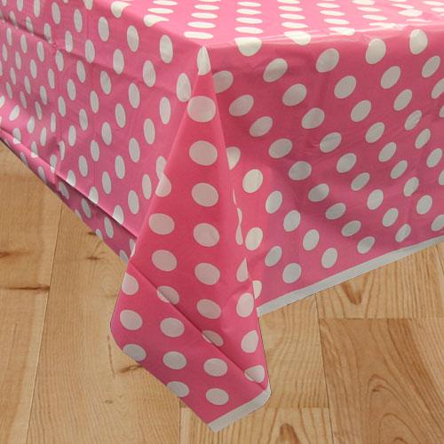 Mantel De Plástico Con Puntos Decorativos Rosa Fuerte 274Cm X 137Cm